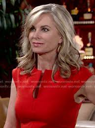 ashley s hairstyles from the young and restless ashley s red split neck dress on the young and the restless