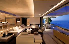 concrete ceiling lighting living room living room with marvelous view features white chaise