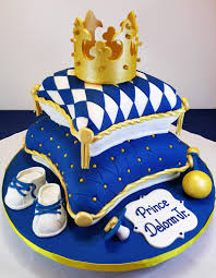 prince baby shower cakes royal blue and gold baby shower pillow cake cakes