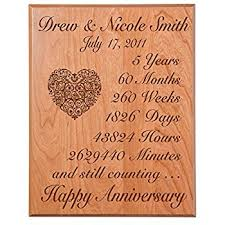 5 year wedding anniversary gift ideas personalized 5th wedding anniversary wall plaque gifts
