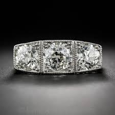 platinum three stone art deco diamond ring for sale at 1stdibs