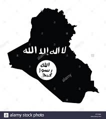 Black White Black Flag Map Of Iraq Overlaid With The Black Flag Of The Islamic State