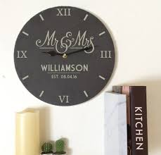 personalised slate mr and mrs clock by perfect personalised gifts
