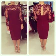burgundy lace long sleeve short cocktail open back prom dress