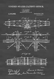 1911 flying machine patent print vintage airplane airplane