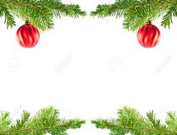 tree ornaments on an evergreen branch frame