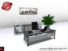 Modern Desk Set Second Marketplace Perm Modern Office Desk Set V 01