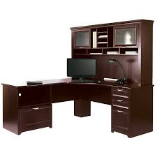 Office Desk With Hutch L Shaped L Shaped Outlet Desk Cherry Finish 30 H X 70 9 10 W X 23 1 5 D