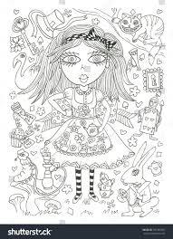 alice wonderland coloring page sketch ink stock illustration
