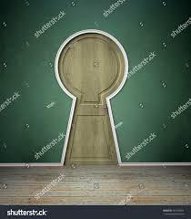 Keyhole Doorway Empty Interior Door Shaped Like Keyhole Stock Illustration