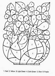 flower color by number difficult color by number printables in