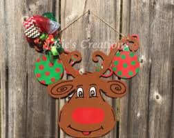 Deer Christmas Door Decoration by Reindeer Door Hanger Etsy