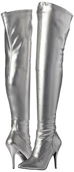 s leather boots sale pleaser s sed3000 s pu boot silver stretch faux leather