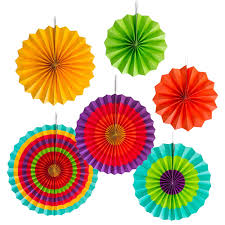 Buy Now Pay Later Home Decor by Amazon Com Fiesta Colorful Paper Fans Round Wheel Disc