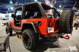 red jeep 2017 sema rugged ridge red jeep lj unlimited