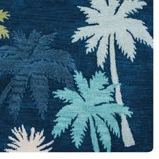 Palm Tree Runner Rug Mesmerizing Indigo Blue Tropical Palm Tree Area Rugs