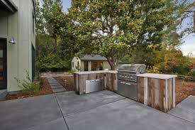 exterior reclaimed wood kitchen cabinets equipped by outdoor