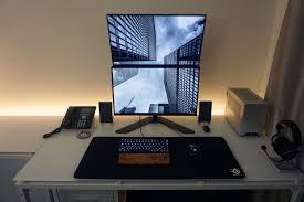 minimalist keyboard minimalist white led stacked monitor work gaming battlestation
