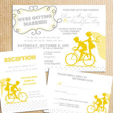 vintage bicycle sillouhette wedding invitations yellow gray