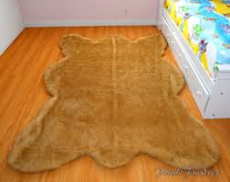 grizzly brown bear rug 5 x 6 realistic shape faux fur area rug