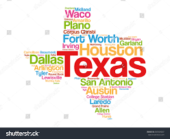 Texas Map Cities List Cities Texas Usa State Word Stock Vector 609304067 Shutterstock