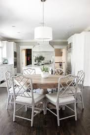 White And Wood Dining Chairs Open Plan Dining Room Located Beside A Large Kitchen Features A