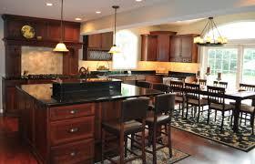 kitchen brown dining chairs white chandelier black granite