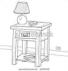 drawing wooden nightstand lamp book stock vector 197078750