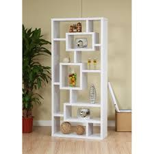 white stained solid wood stand bookcase as display cabinet placed