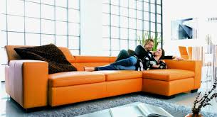 grazia orange sectional vg56 leather sectionals