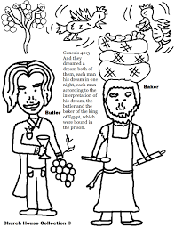 the cupbearer and the baker in joseph in prison coloring pages