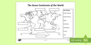 seven continents labelling activity sheet