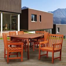 Eucalyptus Outdoor Table by Amazonia Vizcaya 7 Piece Eucalyptus Rectangular Patio Dining Set