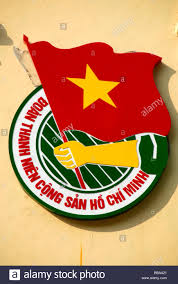 Southeast Asia Flags Socialism Emblem With Red National Flag Hanoi Vietnam