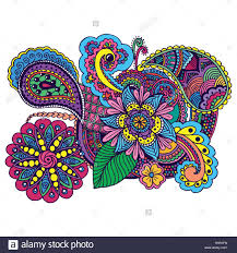 hand drawn colored doodle antistress zentangle design color