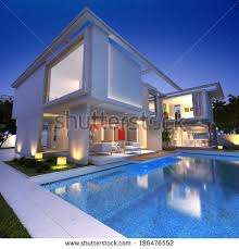 luxurious modern house swimming pool night stock photo 148011155