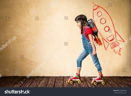 kid jetpack riding on roller skates stock photo 328849583