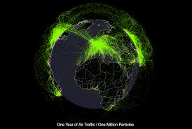 Traffic Map Usa by Every Plane Flight In The World Over One Year Animated Map