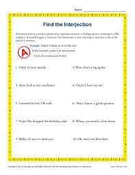 find the interjection 5th grade grammar worksheets