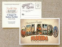 postcard save the date vintage large letter postcard save the date orlando florida