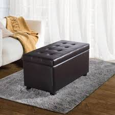 White Leather Storage Ottoman Leather Storage Ottoman Square Solid Wood Legs Brown Mahogany Wood
