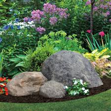 boulders accents and black mulch decor garden fake rock large