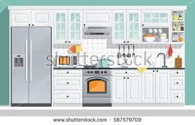 Indoor Kitchen Flat Room Vector Illustration Indoor Kitchen Stock Vector