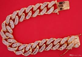 rose gold link bracelet images Discount miami cuban link bracelet baguette round diamonds 14k jpg