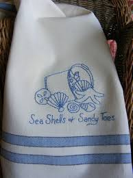 Kitchen Towel Embroidery Designs Freebie Summer Sea Shells Tea Towel Embroidery Pattern From Bird