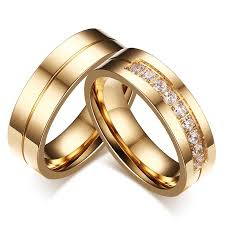 couples rings gold images His and hers aaa cubic zirconia couple ring gold color jpg