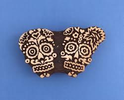 indian wooden printing block detailed sugar skull arty crafty