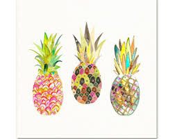 pink pineapple watercolor print tropical wall art pineapple