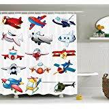 Airplane Shower Curtain Amazon Com Kassatex In Flight Bambini Shower Curtain Home U0026 Kitchen