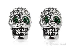 skull stud earrings italina apple alloy plating k gold terror cool jewelry